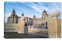 Pier Head between two globes, Canvas Print