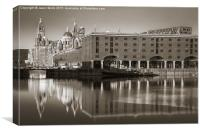 Reflections on the Albert Dock, Canvas Print