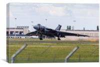 XH558 taking off from Doncaster airport, Canvas Print