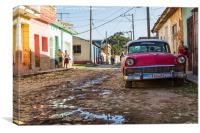 Old timer parked on the side of the road in Trinid, Canvas Print
