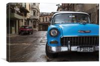 Face on with a blue old timer, Canvas Print