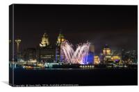 Fireworks on the Liverpool waterfront, Canvas Print