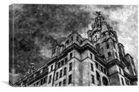Looking up at the Liver Building (monochrome)., Canvas Print
