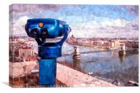 Binoculars overlooking Chain Bridge, Canvas Print
