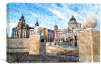 Three graces on the waterfront, Canvas Print