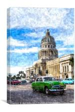 American cars pass the Capitolo building, Canvas Print