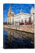 Red open top buses on the Liverpool waterfront, Canvas Print