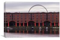 Liverpool Ferris wheel behind the Albert Dock, Canvas Print