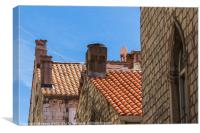 Looking up at Dubrovnik's colourful buildings, Canvas Print