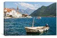 Small boat moored in Perast, Canvas Print