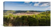 Panorama of Blato surrounded by hills and forests, Canvas Print