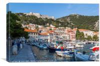 Pretty harbour of Hvar Town, Canvas Print