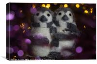 Penguins surrounded in bokeh, Canvas Print