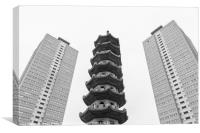 Chinese pagoda between two old blocks of flats, Canvas Print