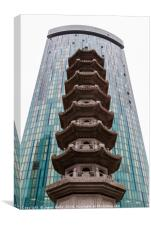 Chinese pagoda in front of a modern skyscraper, Canvas Print