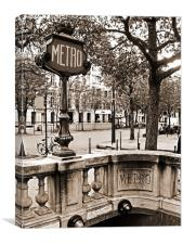 Metro Franklin Roosevelt - Paris - Vintage Sign an, Canvas Print