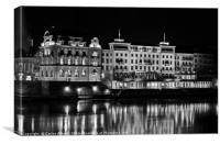 Basel by Night - The Rhine River reflecting the Gr, Canvas Print