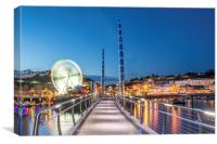 Torquay Harbour by Night , Canvas Print