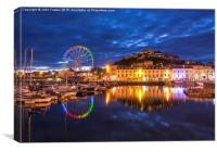 Torquay Harbour by Night, Canvas Print