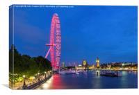 London Eye At Night , Canvas Print