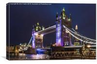Tower Bridge at Night., Canvas Print