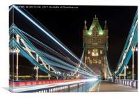 Tower Bridge Light Trails, Canvas Print