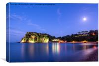 The Ness, Shaldon By Moonlight, Canvas Print