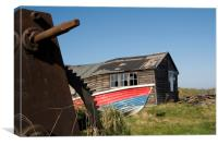 Bendy Fishermans boathouse, Bednell Northumberland, Canvas Print