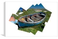 Composite of rotting boat on Holy Island, Canvas Print