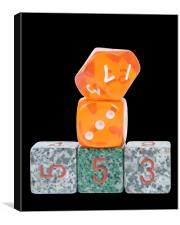 Dice on Black, Canvas Print