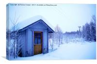 A Blue Wooden Cabin on a Carpet of Fresh Snow , Canvas Print