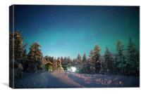 A wooden cabin under the Aurora Borealis , Canvas Print