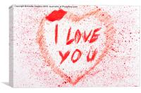 I love you heart stained, Canvas Print