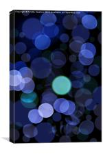 Blue bokeh circles blurry texture, Canvas Print