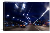Cars motion street night lights, Canvas Print