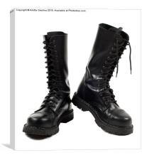 Pair of black leather bovver boots with laces , Canvas Print