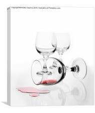 overturned wine glass with red wine splashed out , Canvas Print