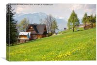 Bucolic spring meadow and wooden house, Canvas Print