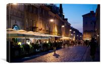 Warsaw nightlife tourist place, Canvas Print