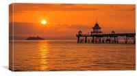 Sun setting at Clevedon Pier., Canvas Print
