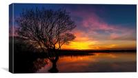 Fire in the Sky, Kenfig pool, Canvas Print