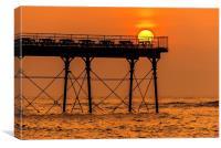 Sunset rest, Aberystwyth Pier , Canvas Print