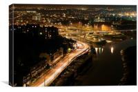 Bristol from the Clifton suspension bridge, Canvas Print