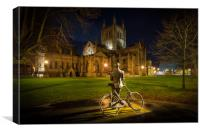 Elgar looking on Hereford Cathedral, Canvas Print