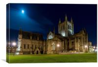 Moon lit Cathedral, Hereford, Canvas Print