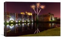 Caerphilly castle fireworks, Canvas Print