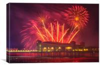 Weston pier fireworks display, Canvas Print
