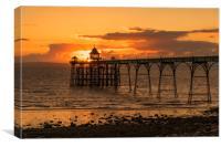 Sun setting at Clevedon Pier, Canvas Print