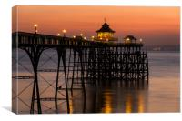 After the sun sets at Clevedon Pier, Canvas Print