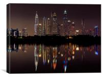 Dubai skyline reflections, Canvas Print